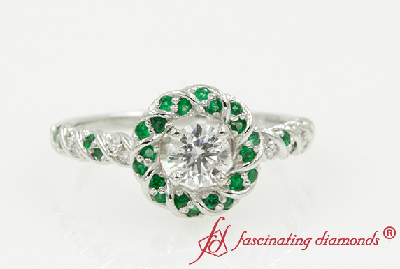 Twisted Halo Ring With Emerald