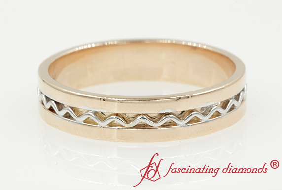 Two Tone Mens Wave Wedding Band