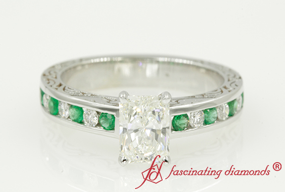 Radiant Cut Emerald Engagement Ring