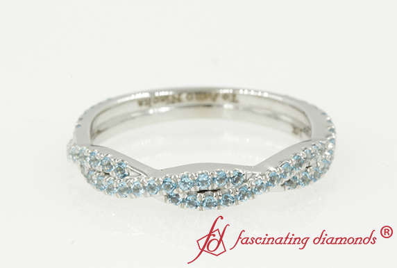 Twist Wedding Band With Topaz