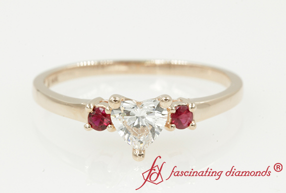 Heart Diamond 3 Stone Ring