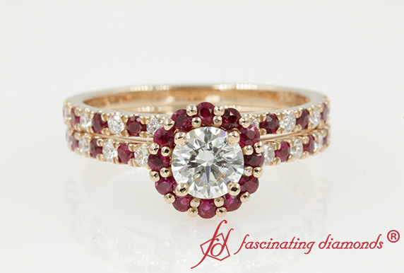 Floating Flower Ring Set With Ruby