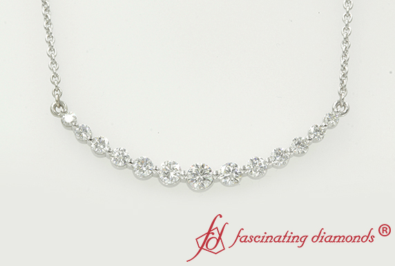 1.15 Carat Curved Diamond Necklace