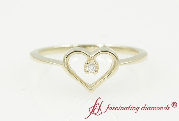 Gold Heart Diamond Promise Ring