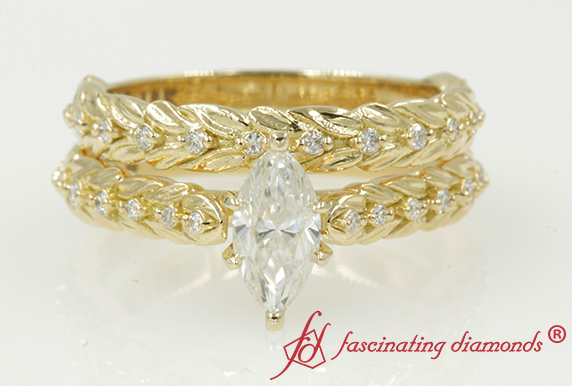 Leaf Design Diamond Bridal Set