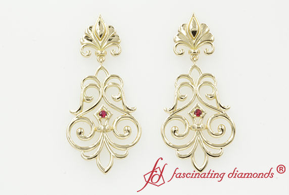 Filigree Ruby Dangle Drop Earring