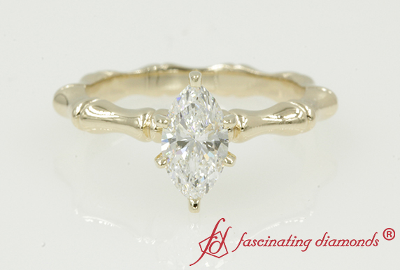 Bone Design Marquise Solitaire Ring