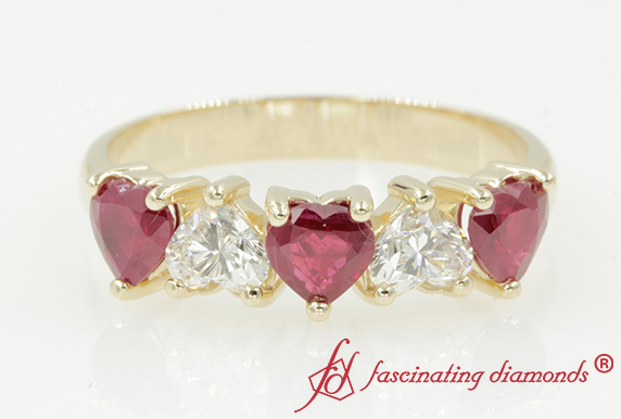 Five Stone Wedding Band With Ruby
