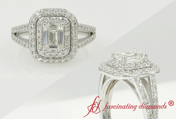 Double Halo Emerald Cut Split Ring