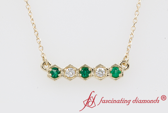 Hexagon Diamond Pendant With Emerald