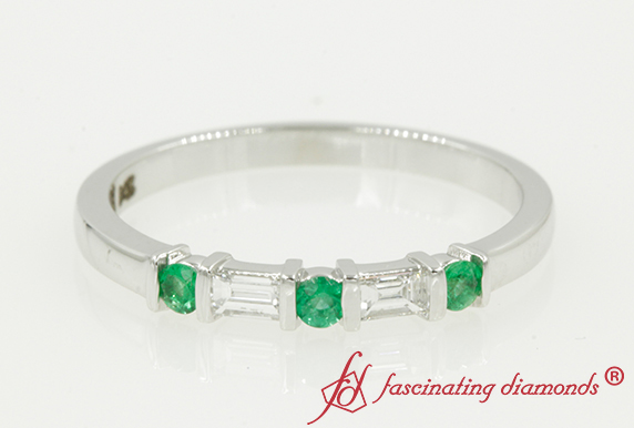 0.21 Carat Baguette Diamond Band With Emerald