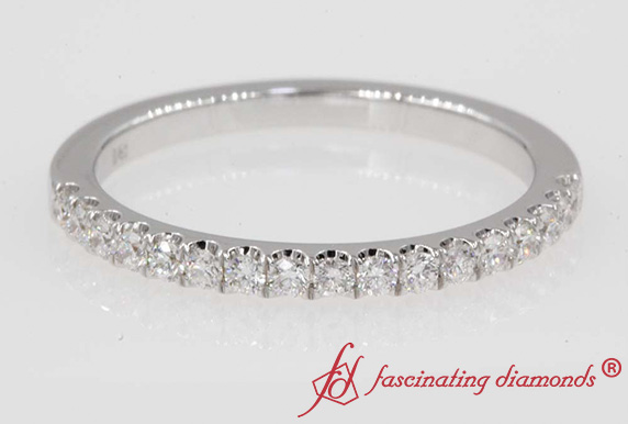 0.25 Carat Diamond Affordable Half Eternity Band In 18K White Gold