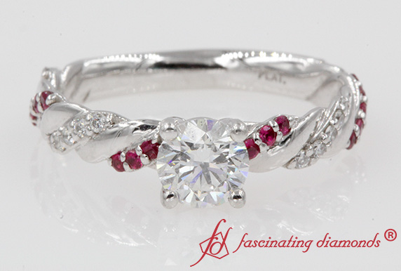 0.75 Carat Diamond Rope Ring With Ruby