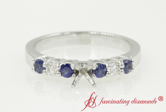 Semi Mount Basket Ring With Sapphire