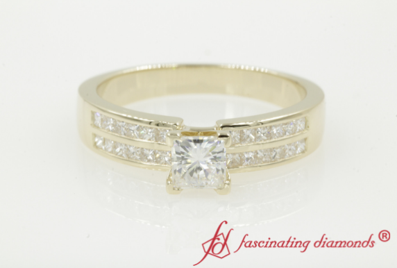 Yellow Gold Princess Cut Moissanite Ring