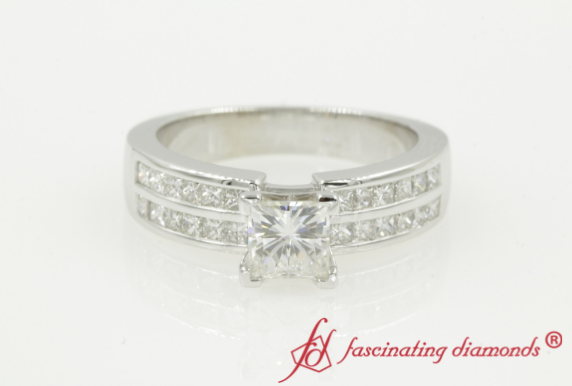 Double Row Moissanite Channel Ring