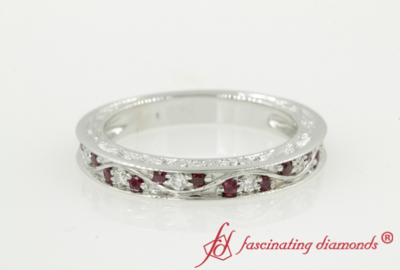 Vintage Filigree Pave Diamond Band With Ruby In 18K White Gold