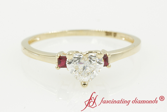 Gold 3 Stone Ring With Ruby