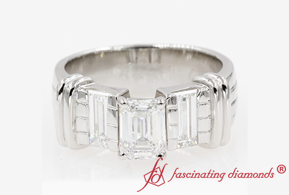 Emerald Cut Diamond Wide Engagement Ring