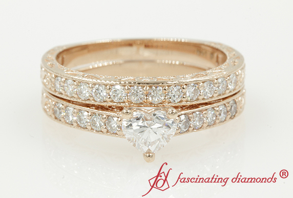Heart Diamond Pave Wedding Ring Set