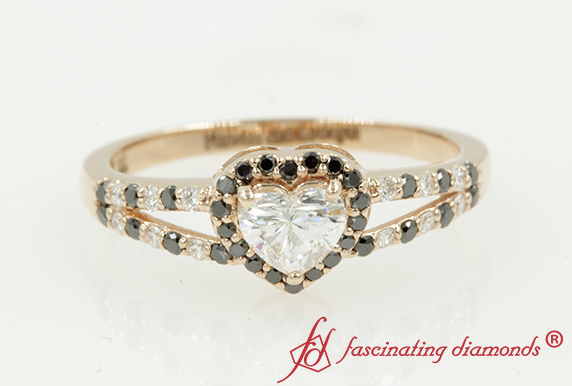 Black Diamond Halo Wedding Ring