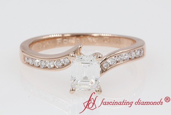 Channel Set Twisted Diamond Engagement Ring In 14K Rose Gold
