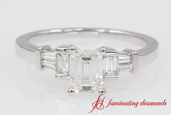 Emerald Cut And Baguette Engagement Ring