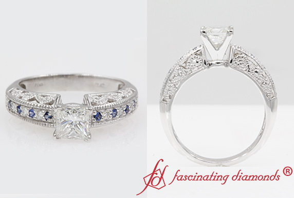 Womens Filigree Sapphire Engagement Ring