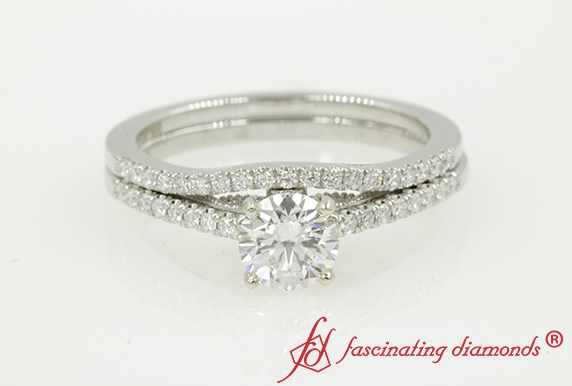 Platinum Diamond Milgrain Bridal Set