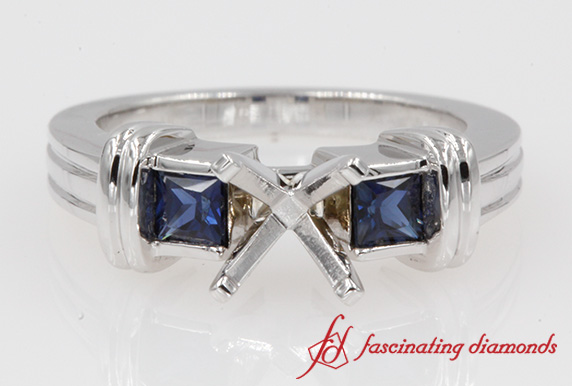 Sapphire Three Stone Engagement Ring Mounting In 18K White Gold