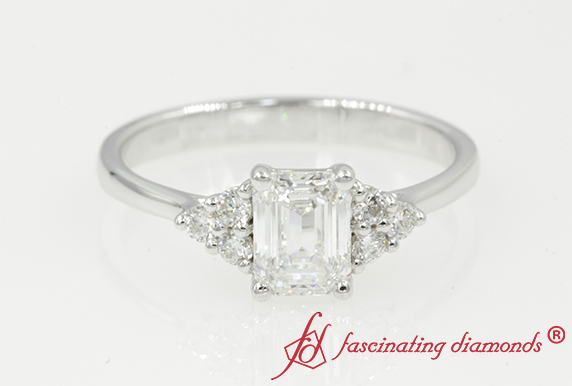 Cathedral Emerald Cut Petite Ring