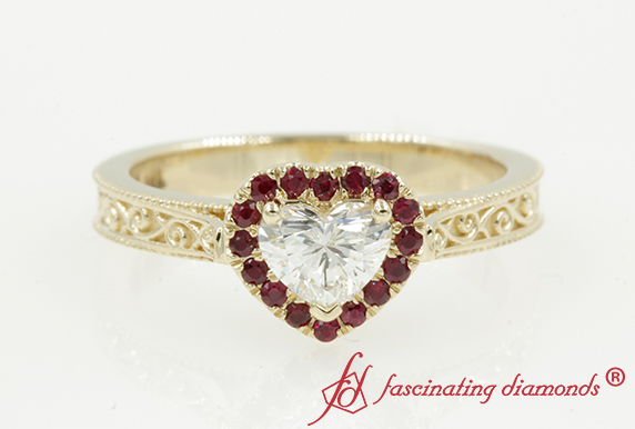Gold Engraved Heart Halo Ruby Ring