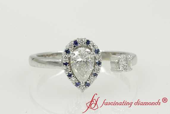 Pear Diamond Ring With Blue Sapphire
