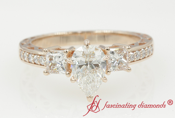Pear Diamond Vintage 3 Stone Ring
