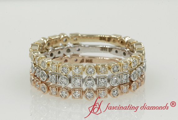 Round Diamond Stack Wedding Band