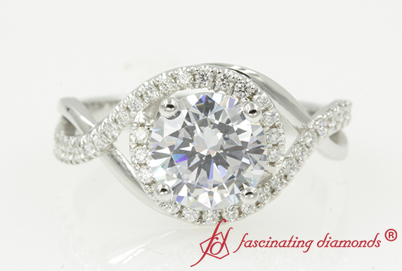 Round Halo Infinity Moissanite Ring