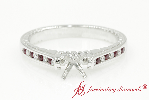 Semi Mount Vintage Ruby Engagement Ring