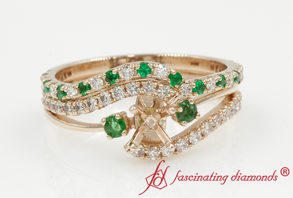 Semi Mount Swirl Wedding Set With Emerald