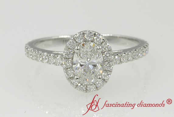 Simple Halo Oval Diamond Ring