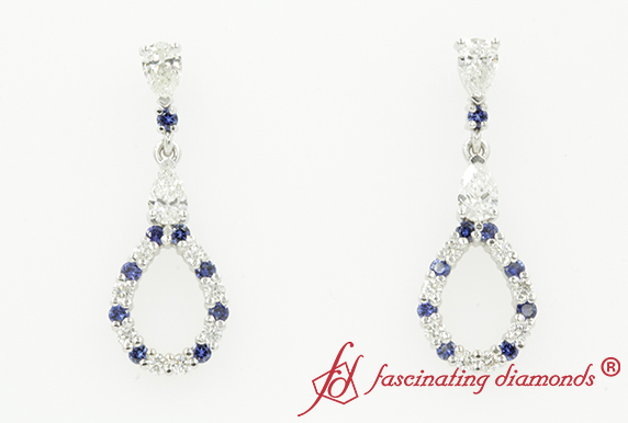 Teardrop Earring For Women With Sapphire