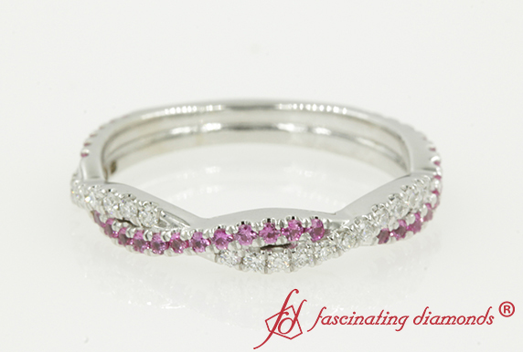 Women Wedding Band With Pink Sapphire