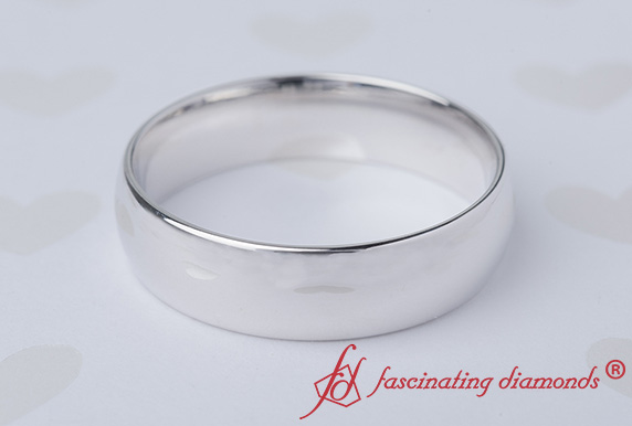 6MM White Gold Wedding Band For Male