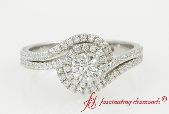 Bypass Halo Round Diamond Ring