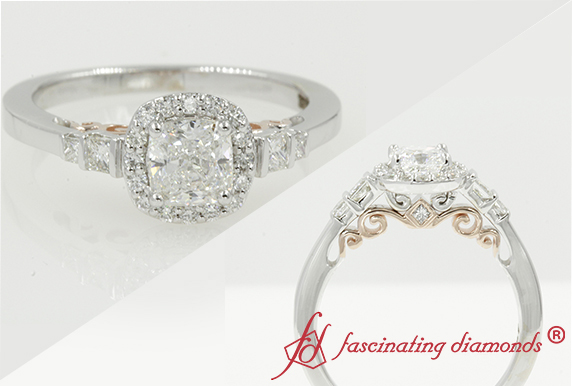 Two Tone Halo Diamond Ring