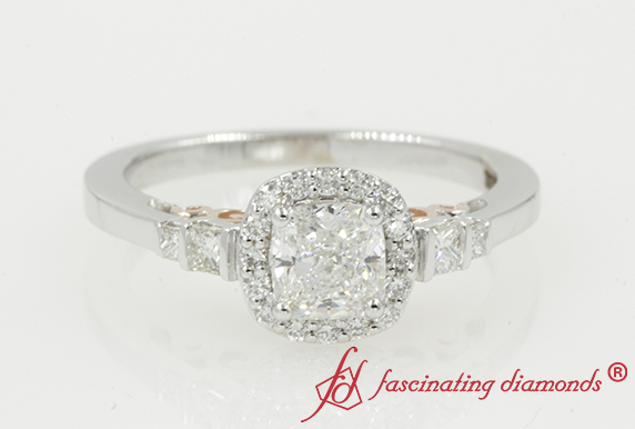 Cushion Cut Two Tone Halo Engagement Ring In White Gold