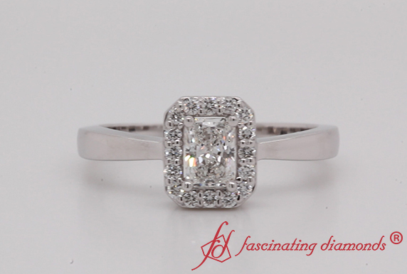 Delicate Radiant Cut Halo Ring