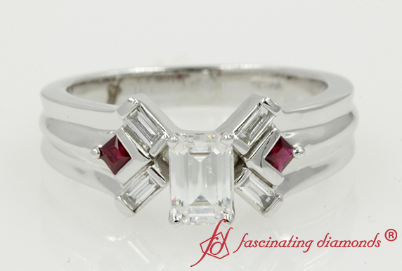 Emerald Cut Moissanite Baguette Ring