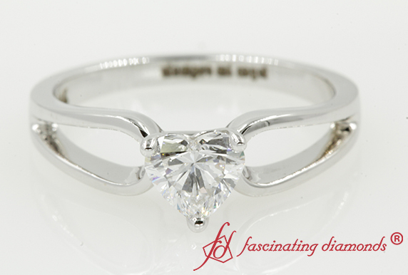Heart Diamond Loop Solitaire Ring