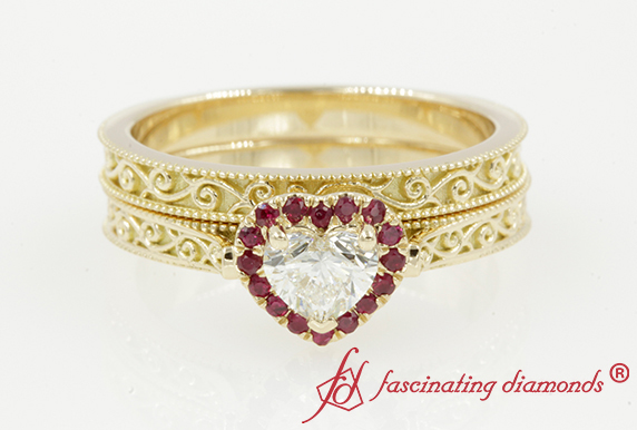 Heart Halo Ruby Filigree Bridal Set