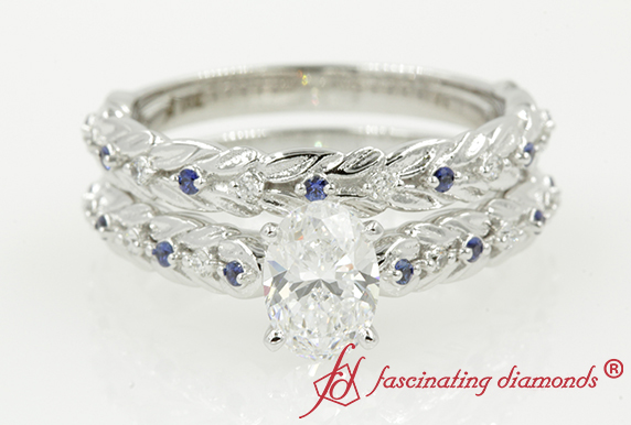 Leaf Oval Diamond Ring Set With Sapphire